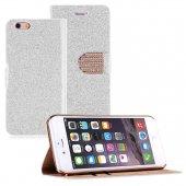 Microsonic Pearl Simli Taşlı Deri İphone 6 (4.7) Kılıf Beyaz