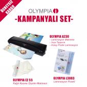 Olympia A230 A4 Pvc Laminasyon Makinesi Ve Kağıt Kesme Giyotin Makinesi L3083 Laminasyon Poşeti 3 Lü Set