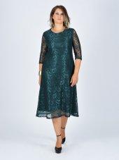 Nidya Moda Büyük Beden Sıfır Yaka Dantel Yeşil Abiye Elbise 4036y