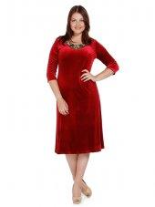 Nidya Moda Büyük Beden Gold Çiçek Yaka Kırmızı Abiye Kadife Elbise 4075k