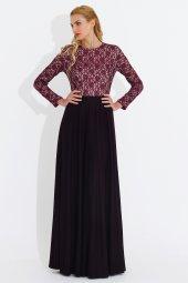 Nidya Moda Büyük Beden Üst Dantel Kombin Mürdüm Uzun Abiye Elbise 4045m