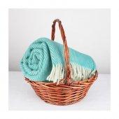 Wool Battaniye Yeşil Krem