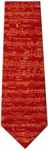 Notalı İpek Kravat Kırmızı