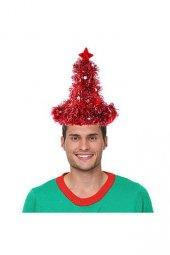 Lüks Kırmızı Metalize Yılbaşı Şapkası