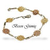 Besen Gümüş Beyaz Rodaj Rose Ve Sarı Altın Kaplama Üç Renkli Arpaş Bileklik