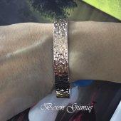Besen Gümüş Taşsız Dövme Model Rose Altı Açık Modern Bilezik