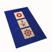Ivi Çocuk Genç Odası Denizci Mavi Halısı 100x150 Yelken Gemi