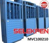 100x210 Mavi Çift Saç Demir Kapı Camsız