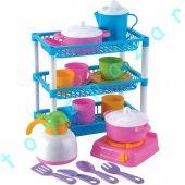 Eğitici Kız Çocuk Oyuncak 3 Katlı Mutfak Sepeti Evcilik Oyun Seti