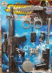 Oyuncak Tabanca Polis, Silah, Tüfek Kelepçe Seti