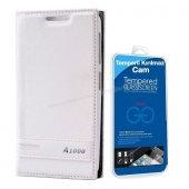 Lenovo A1000 Mıknatıslı Lux Kılıf Beyaz + Temperli Kırılmaz Cam