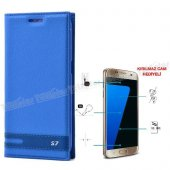Samsung Galaxy S7 Mıknatıslı Kılıf Mavi + Kırılmaz Cam