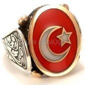 925 Ayar Gümüş Erkek Yüzük Oval Türk Bayrağı Ay Yıldız