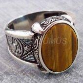925 Ayar Gümüş Erkek Yüzük Desenli Kedi Gözü Taşlı