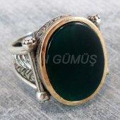 925 Ayar Gümüş Erkek Yüzük Desenli Yeşil Taşlı