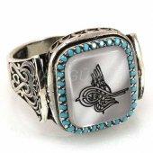 925 Ayar Gümüş Erkek Yüzük Osmanlı Tuğrası Kenarı Turkuaz Taşlı