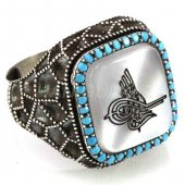 925 Ayar Gümüş Erkek Yüzük Osmanlı Tuğrası Turkuaz Taşlı Petek Model