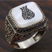 925 Ayar Gümüş Erkek Yüzük Lale Arapça Yazılı Selç...