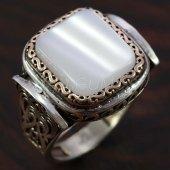 925 Ayar Gümüş Erkek Yüzük Sedef Taşlı Kayı Model