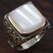 925 Ayar Gümüş Erkek Yüzük Sedef Taşlı Köşeli Model