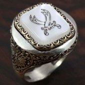 925 Ayar Gümüş Erkek Yüzük Desenli Zülfikar Kılıçı