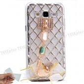 Samsung Galaxy J7 Zincirli Taşlı Silikon Kılıf Gümüş
