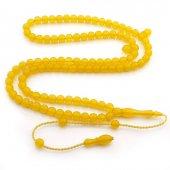 Mini Boy 99luk Küre Kesim Sarı Sıkma Kehribar Tesbih