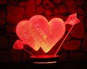 16 Renk İsim Yazılı Kalp Tasarım 3d Led Lamba Model 3