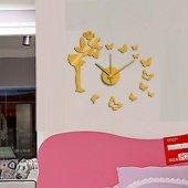 Tüyball Duvar Saati 10em112g Altın Peri Sticker Duvar Saati
