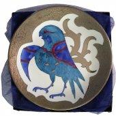 El Boyama Gümüş Süslemeli Porselen Tabak Kuş