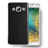 Galaxy E5 Deri Dokulu Tpu Arka Kapak Siyah