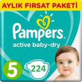 Prima Bebek Bezi Aktif Bebek 5 Beden Junior Aylık Paket 224 Adet