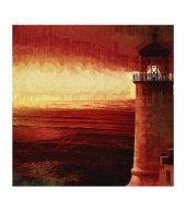 Red Lighthouse 4 Parça Kanvas Tablo 70x70 Cm
