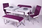 Mutfak Masa Sandalye Bank Takimi Kumaş Açılır Masa