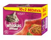 Whiskas Etli Seçenekleri Karişik Konserve Kedi Mamasi 100 Gr. 10+2li Paket