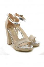 Lady Angel 1005 010 Krem Gümüş Yüksek Topuk Bayan Ayakkabı