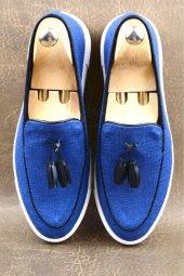 Chekich Mavi Keten Kot Püsküllü Ayakkabı