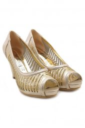 Artemis Dore Altın Gizli Platform Taşlı Abiye Ayakkabı