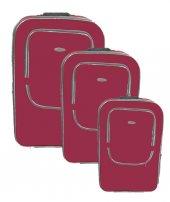 Laguna Koyu Kırmızı Su Geçirmez Hafif Kumaş Valiz Seti Bavul