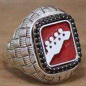Erkek Gümüş Yüzük Hasır Kırmızı Elektro Gitar Kulakları Model