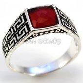 Gümüş Erkek Yüzük Kare Kırmızı Greek Model...