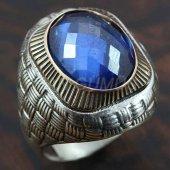Gümüş Erkek Yüzük Asır Safir Mavi