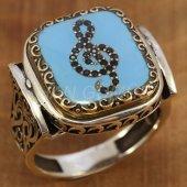 Gümüş Erkek Yüzük Kayı Model Sol Anahtarı Mavi Mineli