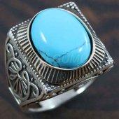 Gümüş Erkek Yüzük Köşeli Turkuaz Mavi
