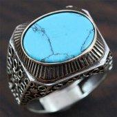 Gümüş Erkek Yüzük Yan Köşe Turkuaz Mavi
