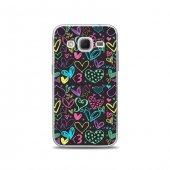 Samsung Core Prime Kılıf Renkli Kalp Çizimleri Desenli Kılıf