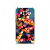 Samsung Core Prime Kılıf Renkli Akan Kalp Desenli Kılıf