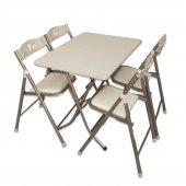 Sinem Katlanır Mutfak Balkon Masa Sandalye Takımı 70x110wht