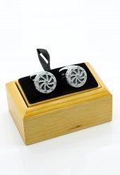 Taşlı Beyaz Kol Düğmesi Kd243