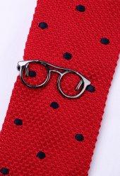 Gözlük Koyu Gümüş Kravat İğnesi Kıy34